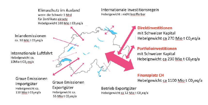 Landkarte Schweiz mit CO2 Emissionen visualisiert